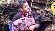Kuyuya Düşen Çaresiz Köpeği Kurtaran Güzel İnsanlar