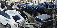 İstanbul Merter'de Kaldırım Çöktü, Araçlar Çukura Düştü!