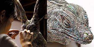 Hiç Umursamadan Çöpe Attığımız Gazete Kağıtlarından Hayvan Heykelleri Yapan Japon Sanatçı