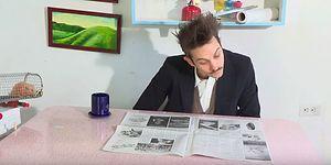 Gazete Sayfasını Çevirmeyi Uzun Yoldan Seçen Adamdan Enfes Rube Goldberg Makinesi