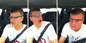 Araç İçinde Şarkı Söylerken Bir Anda Tepetaklak Olan Eleman