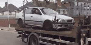 Ceza Ödememek İçin Çekicinin Üstündeki Aracına Binip Kaçmaya Çalışan Sürücü