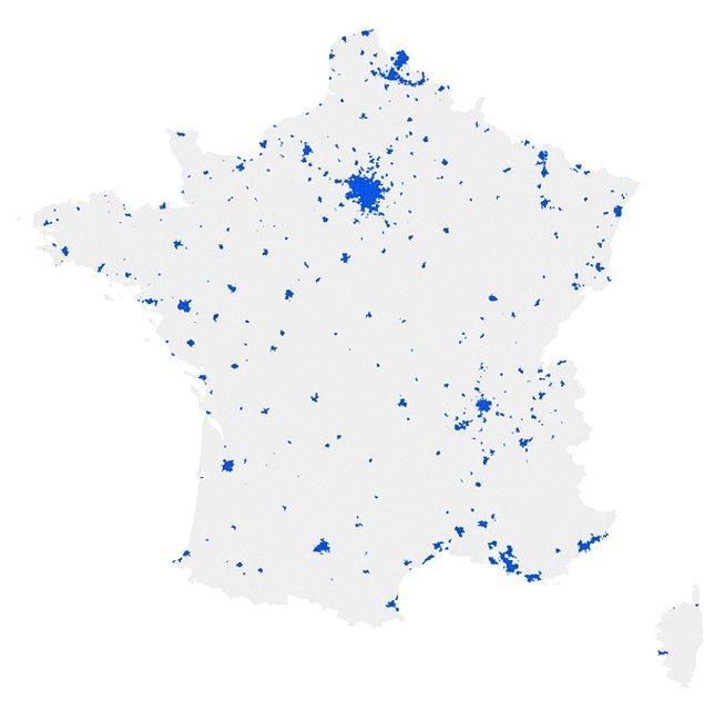 6. Fransa'da da nüfusun yarısının yaşadığı bölgelerin oluşturduğu harita böyle: