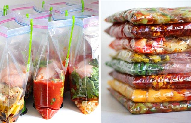 4. Yemeklerinizi buzluğa yerleştirmeden önce mutlaka porsiyonlayın.