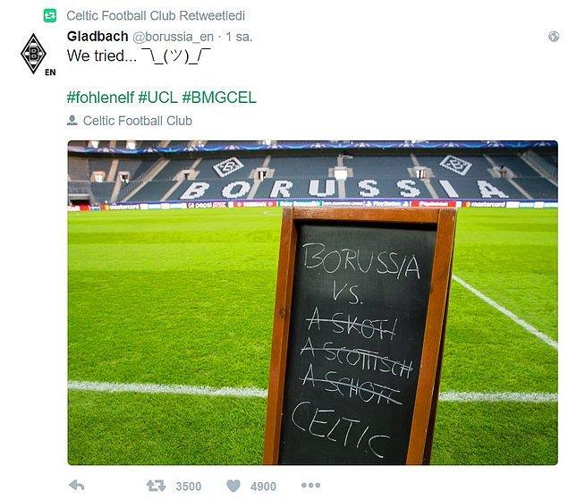 Celtic kulübü ise, rakibinin bu paylaşımını retweetliyor.