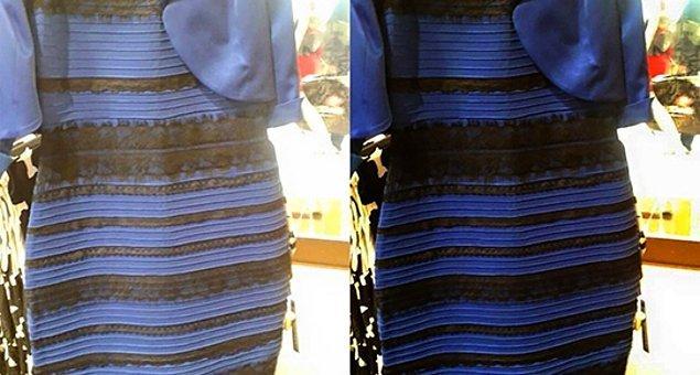 2. 2015 yılında bir süre ortalığı kasıp kavuran bu elbiseyi hatırlamayan yoktur. Peki bu elbise gerçekten hangi renkti? 😂