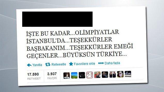 10. Geldik son soruya. 2020 Olimpiyatları'nın Türkiye'ye verildiğini sanarak bu tweeti atan ünlü siyasetçimiz kimdir?