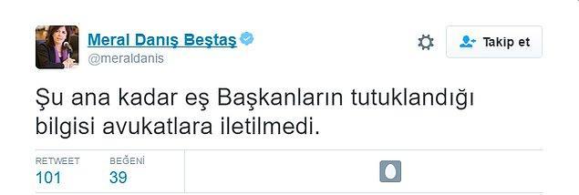 Ancak HDP Adana Milletvekili Meral Danış Beştaş, 'Şu ana kadar eş başkanların tutuklandığı bilgisi avukatlara iletilmedi' bilgisini paylaştı.