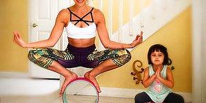 13 Sımsıcak Videosu ile Kızıyla Birlikte Fitness Yapan Muhteşem Anne