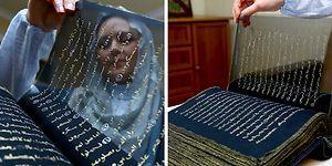 3 Yıl Uğraşıp Kur'an'ın Tamamını 50 Metrelik İpek Kağıda Altınla Tekrar Yazan Sanatçı