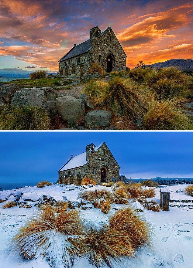 28. The Good Shepherd Kilisesi, Tekapo Gölü, Yeni Zelanda