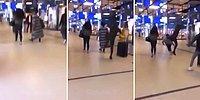 Alışveriş Merkezinde Kadına Arkasından Uçan Tekmeli Akıl Almaz Saldırı