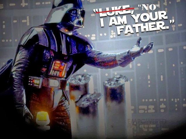 """6. Star Wars'ta """"Luke, I'm your father"""" diye bir replik yok, o sahnede aslında """"No, I'm your father"""" deniyor."""