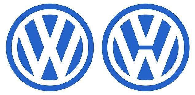 12. Volkswagen'in logosunda iki V arasında bir çizgi var. Pek çok insan ise logoyu ilk fotoğraftaki gibi bitişik hatırlıyor.