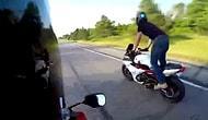Motosikletiyle Şov Yapmak İsterken Tezeği Avuçla Yiyen Adam