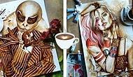 ''Bu da Nasıl Çizilir, Yok Artık!'' Diyeceğiniz, Kahve ile Çizilmiş İnanılmaz Yaratıcı Resimler
