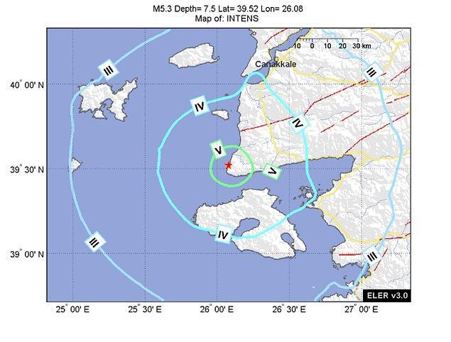 İlk depremin merkez üssü, Ege Denizi'nde Çanakkale'nin Ayvacık ilçesine bağlı Gülpınar açıklarıydı.