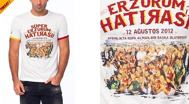 7. Kadıköy'ün ardından Erzurum'da Süper Kupa maçında karşılaşan Galatasaray - Fenerbahçe maçından yine sarı kırmızılılar galip çıktı. O da tişört oldu.