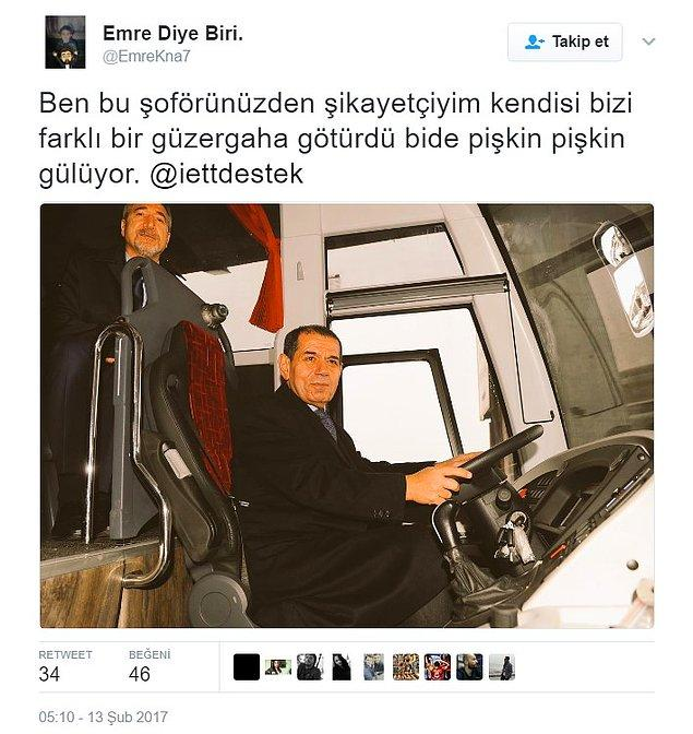 İETT'nin bu açığını gören bir başka taraftar da Dursun Özbek'ten şikayetçi oldu.