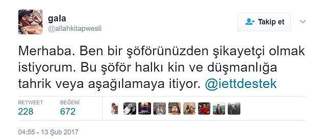 Twitter'daki İETT destek hattına bu şekilde bir şikayet geldi.