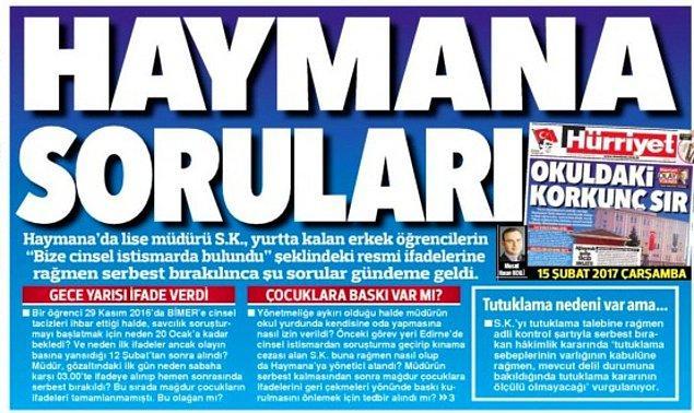Hürriyet gazetesi soruşturmada yanıt bekleyen soruları bugünkü manşetine taşıdı.