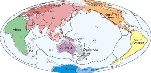 Yüzde 94'ü suyun altında bulunan Zelandiya'nın suyun üstende kalan kısmında yalnızca birkaç ada ve üç büyük kara parçası bulunuyor: Yeni Zelanda'nın Kuzey ve Güney adaları ile Yeni Kaledonya.