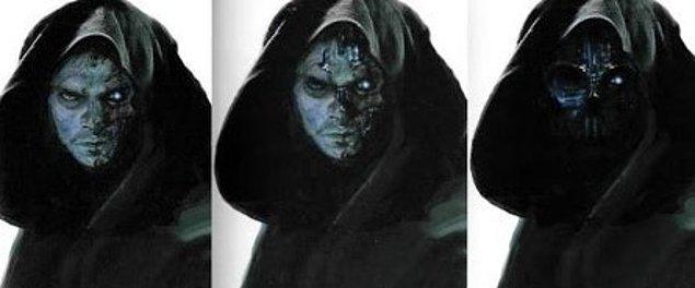 Anakin'in neden dönmesi gerektiğine dair biraz da ipuçlarına bakalım: The Force Awakens için yapılan konsept çizimlerden birinde de, Anakin Skywalker'ın Darth Vader maskesi ardındaki hasarlı yüzünü görüyoruz.