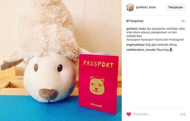 Sonunda dayanamayıp kendine bir pasaport çıkarttı.