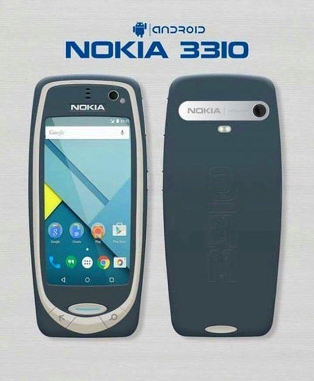 1. Geri dönüş söylentilerinin yayılmasının ardından sosyal medyaya birçok tasarım düştü. Bazıları yeni 3310'un günümüz akıllı telefonlarının bir versiyonu olacağını düşündü.