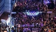 Feministlerin 8 Mart Gece Yürüyüşünden Atarlı Giderli 25 Pankart