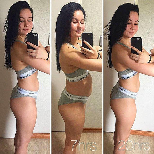 18. 20 saat içinde kadın vücudunun değişimi.