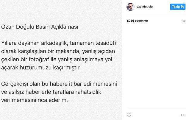 Hakkında eşini aldattığı yönünde çıkan haberlere, Instagram'dan paylaştığı bir basın duyurusu ile yanıt verdi.