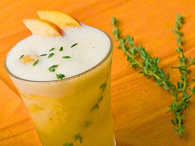 10. Limon+Şeftali+Toz Şeker+Su+Taze Kekik