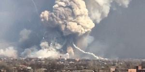 Ukrayna'da Cephanelikte Meydana Gelen Patlama Anına Ait Korkunç Görüntüler!