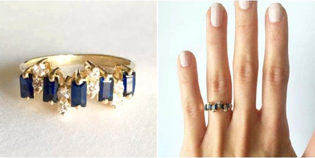 8 tane yuvarlak elmas ve 4 tane mavi safir taştan oluşan yüzükle, sürekli yüzüğünüzü yakından görmek isteyenlerle uğraşma zorunda kalacaksınız.