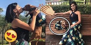 Balo Elbisesinin Aynısından Biricik Köpeğine de Giydirip Herkesi Büyüleyen Genç Kadın