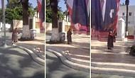 Gördüğü Atatürk Bayrağının Önünde Dua Okuyarak Öpüp Koklayan Yüreği Güzel Teyze