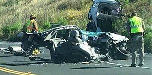 Kazada Ortadan İkiye Ayrılan Araçtan Mucize Eseri Sağ Çıktı!