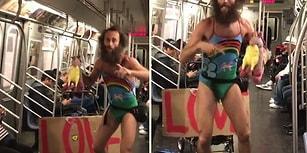 Gökkuşağı Desenli Kadın Mayosuyla Metroda Chicken Unicorn Şarkısı Söyleyen Adam