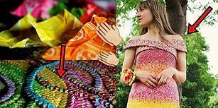 4 Yıldır Sabırla Biriktirdiği 10 Binden Fazla Şeker Ambalajıyla Elbise Yapan Hamarat Kadın
