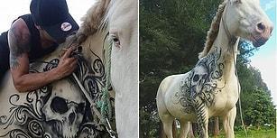 Dövmeleriyle Hasta Çocuklara Özgüven Veren Sanatçının Beyaz Bir Ata Çizdiği Yeni Eseri