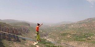 1220 Metre İp Üzerinde Yürüyerek Malatya'da Dünya Rekoru Kıran İsviçreli Dağcı
