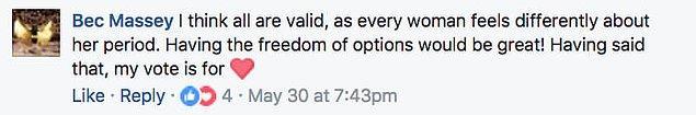 """""""Bence hepsi geçerli, çünkü her kadın menstürasyon dönemi ile ilgili farklı hisler içinde. Keşke hepsi olsa da seçme şansımız olsa. Ama benim tercihim takvimden yana."""""""