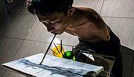Geçirdiği Kaza Sonrası Kolları ve Bacaklarını Kaybeden Gencin Resim Tutkusu