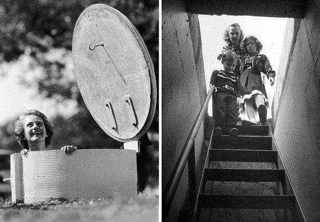 14. Solda: Bir kadın, Texas'taki yeraltı nükleer sığınağın girişinden kafasını çıkarıyor. (1961)