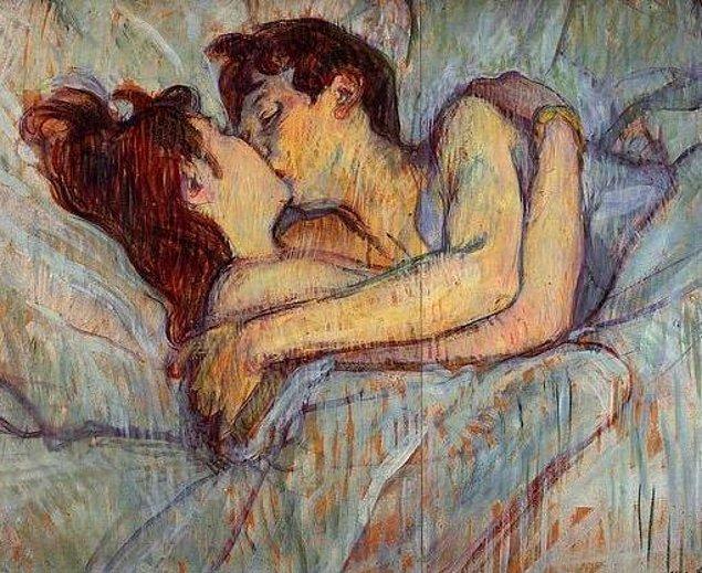 """2. Paris Hilton'la Jared Leto'nun öpüşmesi - """"Yataktaki Öpücük"""" Henry Toulouse Lautrec, 1892"""