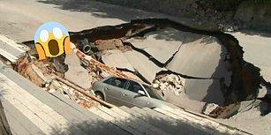 Şans Eseri Yaşıyoruz: Üsküdar'da Çöken Yol Otomobili Yuttu!
