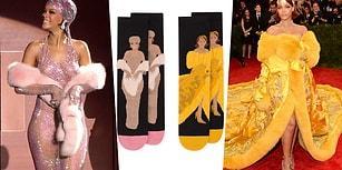 Ayağımıza Kadar Rihanna! Ünlü Yıldızın Kıyafetleri Desen Haline Gelip Çorapları Şenlendiriyor!
