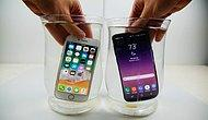 iPhone 8, Samsung Galaxy S8 Tuzlu Su Testi