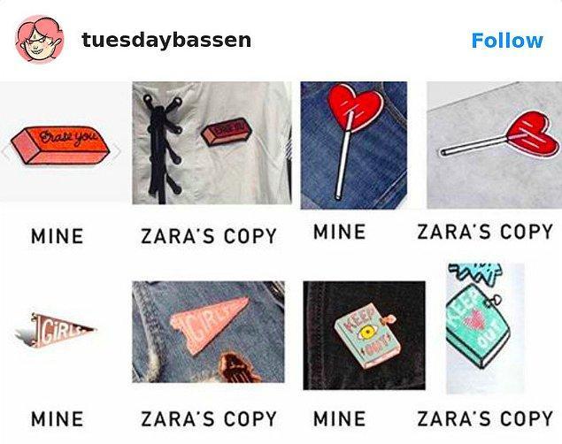 3. Zara'nın Tuesday Bassen'a ait çizimleri kullandığı ürünler: